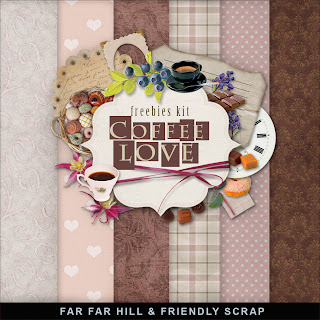 "Free scrapbook mini kit ""Coffee Love"" from Far Far Hill"
