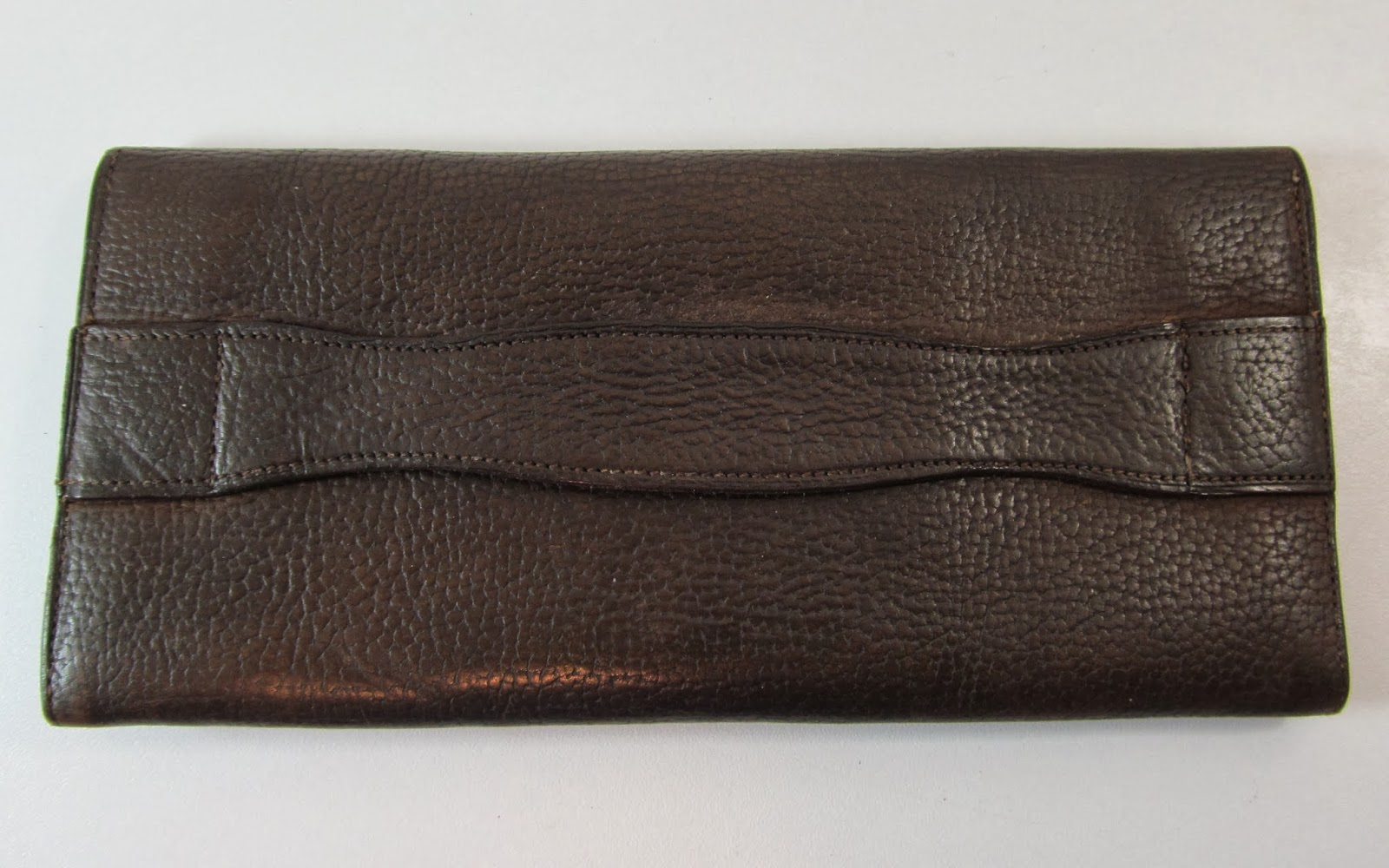 VINTAGE BROWN LEATHER HAND STRAP PURSE WALLET CLUTCH WITH ...