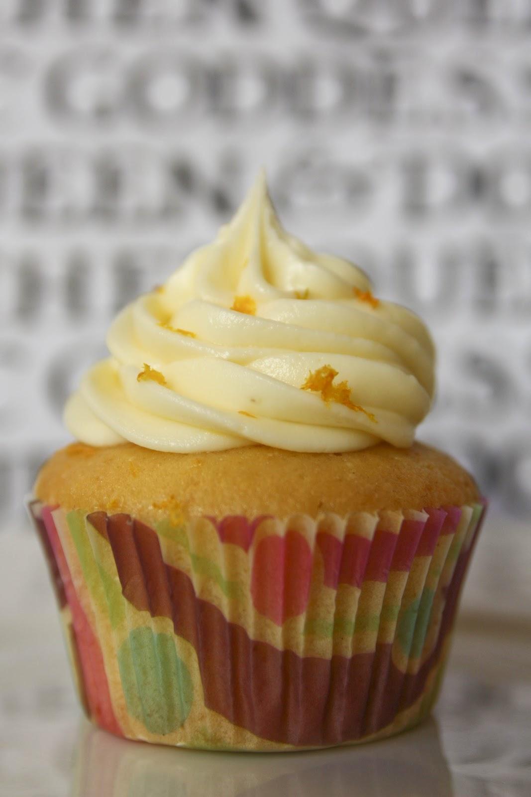 orange cupcakes, orange and orange blossom buttercream swirl, cake