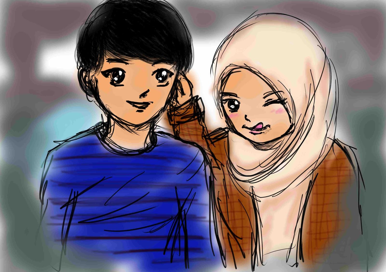 Kartun Muslimah Couple Romantis