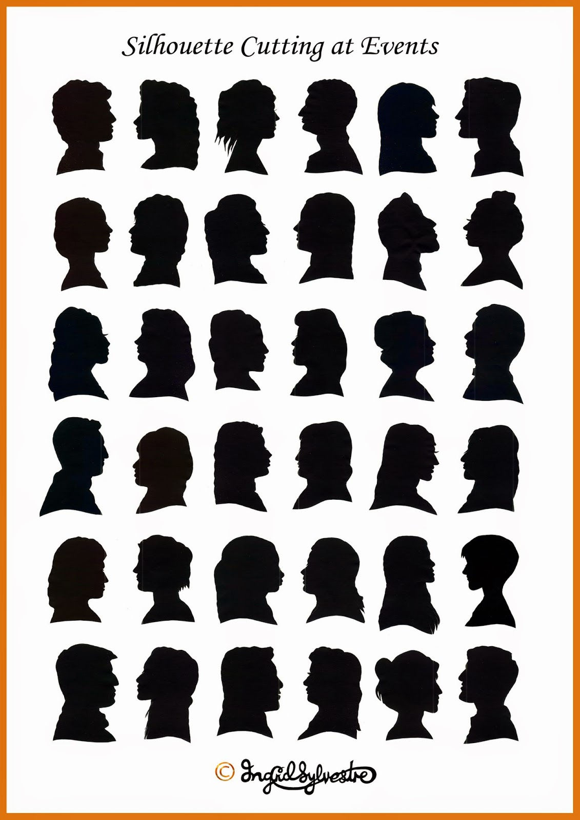 Silhouettes cut by UK silhouette artist - shadow cutter  Ingrid Sylvestre, weddings proms, parties, corporate events, launches