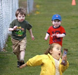 funny image: running children