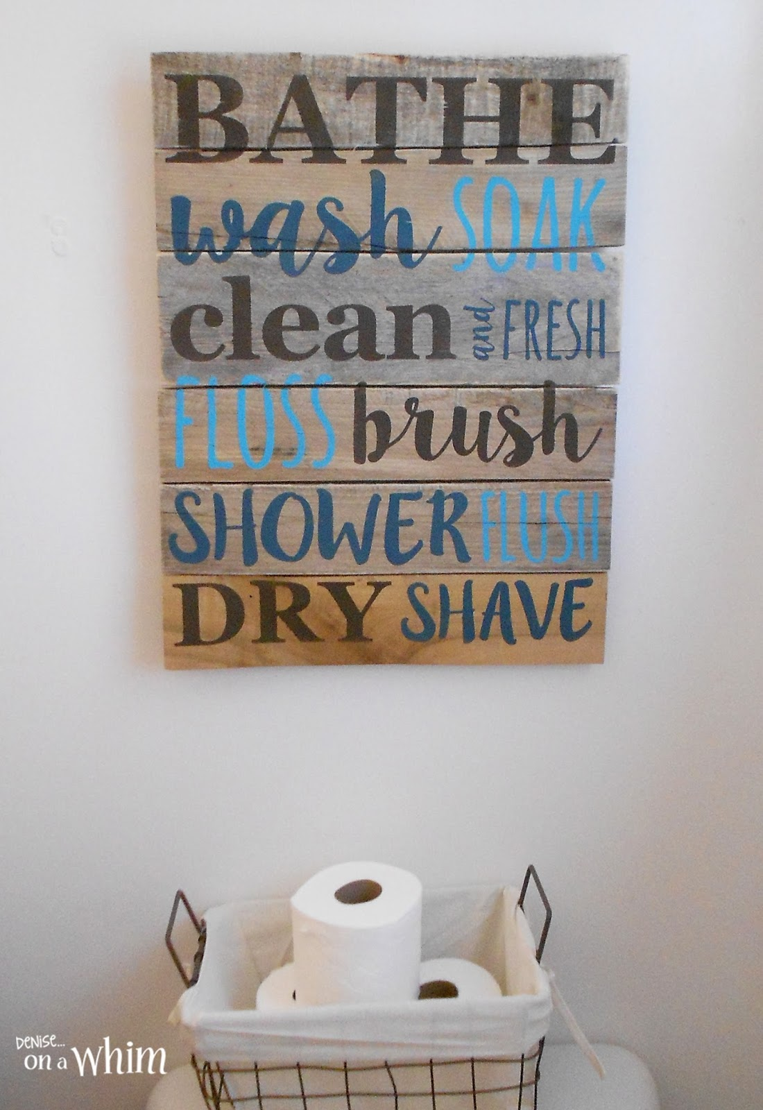 Bathroom Signs Walmart deniseon a whim: vintage farmhouse bathroom makeover