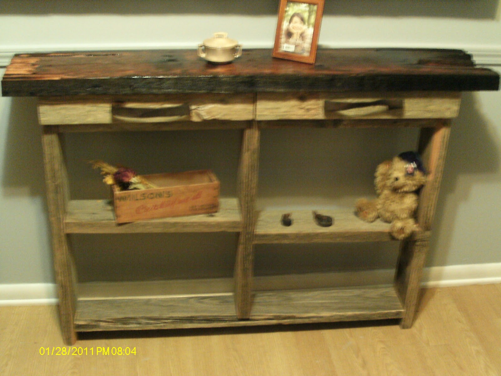 Rustic Barnwood Sofa Wall Table With Drawers And Shelves