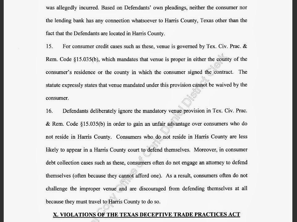 Consumer Debt Litigation (Texas): November 2013