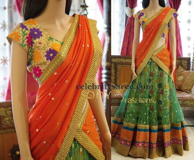 Green Net Floral Lehenga by Sony Reddy