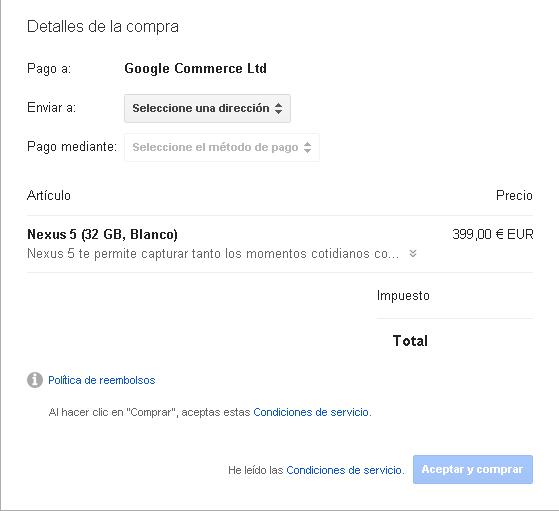Paso final para que veas que se puede comprar en Nexus 5 en Blanco