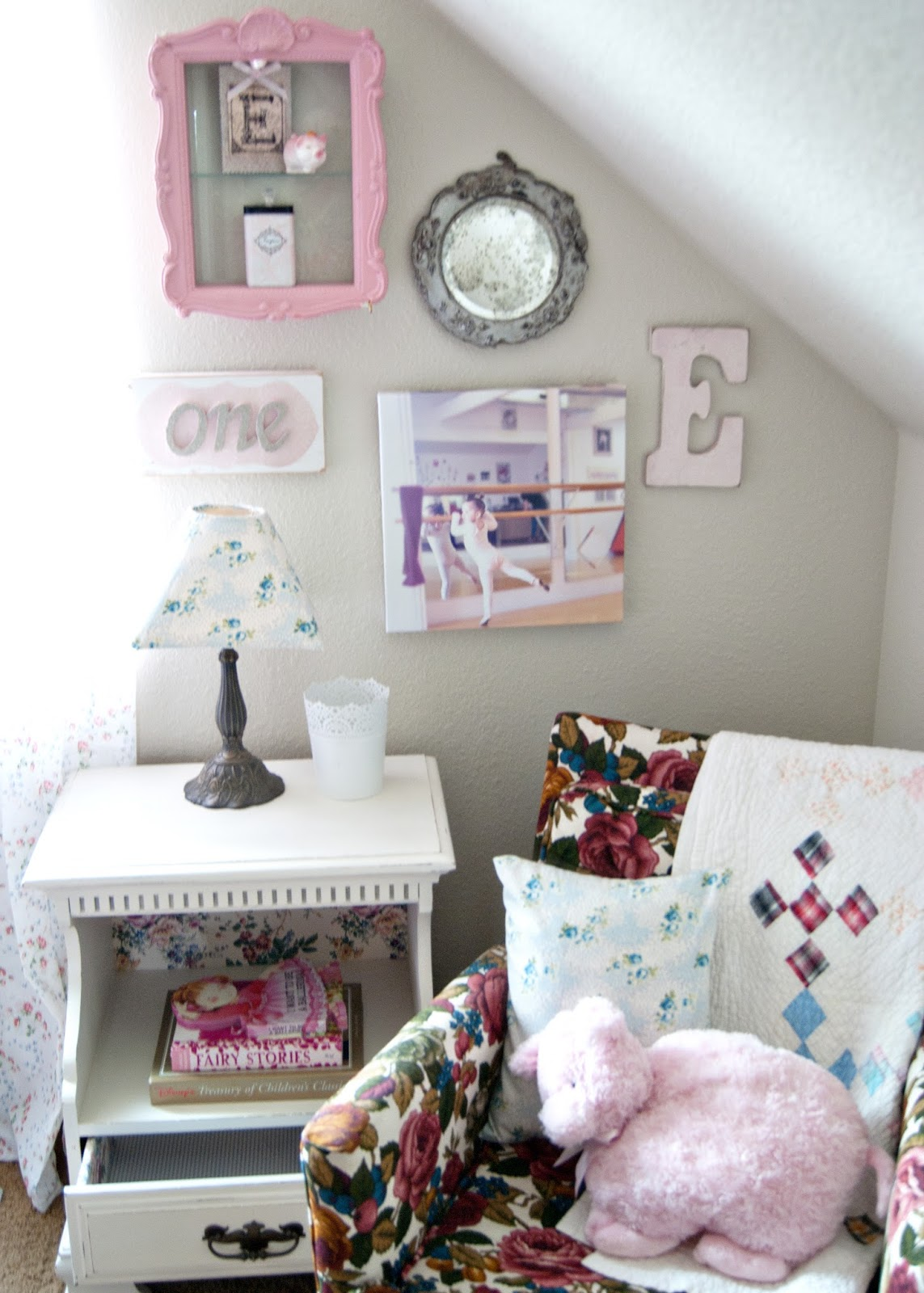 Gallery wall, Granny Chair and vintage nightstand