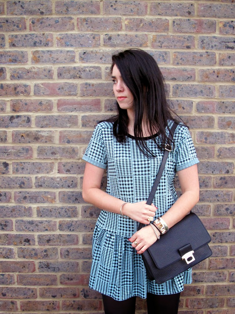 Emma Louise Layla in blue and black checked dress
