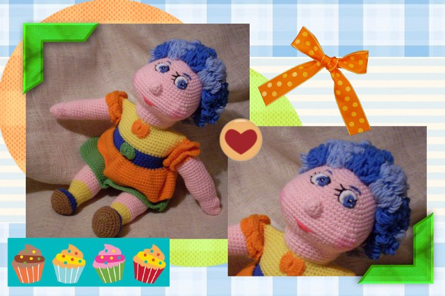 funmigurumi doll with blue hair
