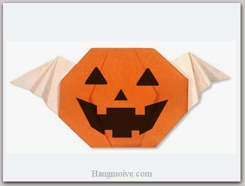 Cách gấp, xếp quả bí ngô có cánh Halloween bằng giấy origami - Video hướng dẫn xếp hình Halloween - How to fold a Jack O' Lantern with Wing