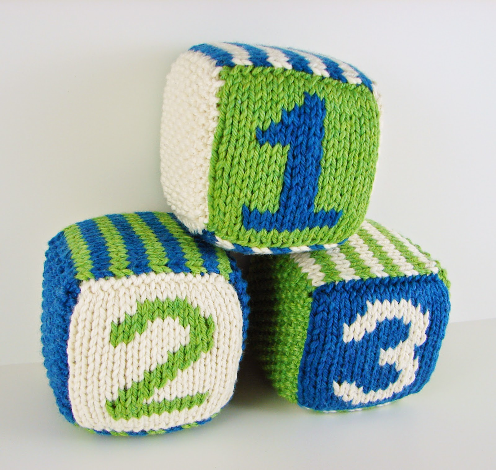 knit, blocks, foam, toys, hand knit, letter, number, striped, white, green, blue