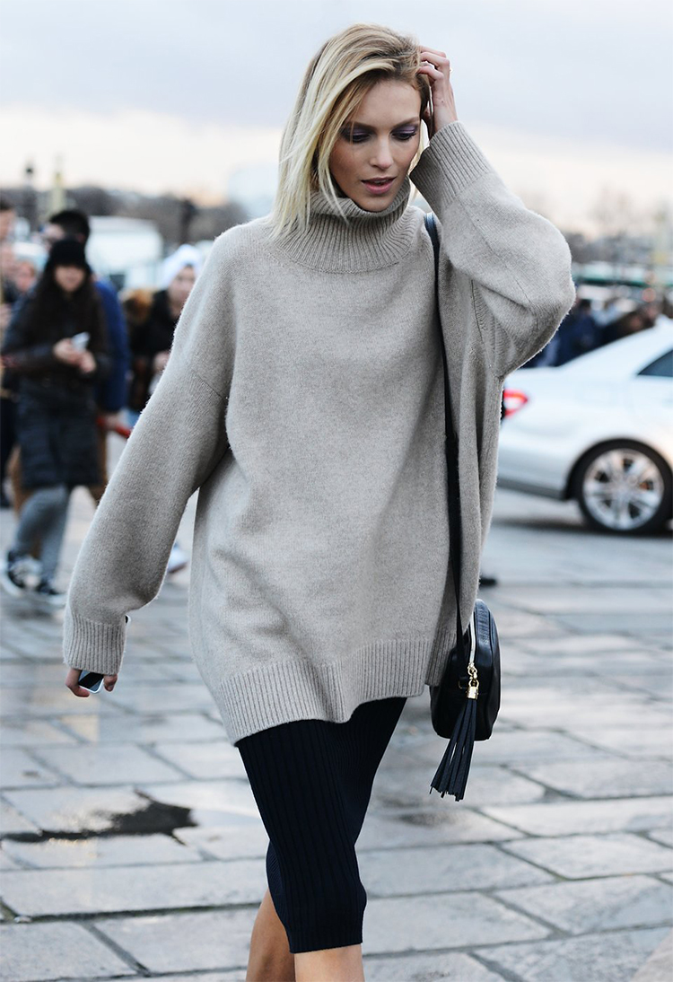 anja rubik, anja rubik turtleneck, turtleneck street style, turtleneck tucked hair