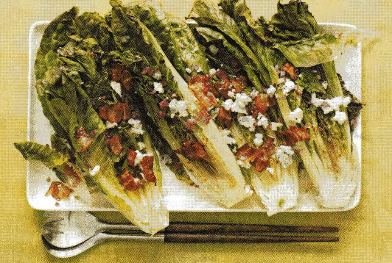 Grilled Romaine with Blue Cheese-Bacon Vinaigreete