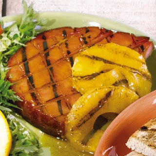 grilled ham steaks with pineapples
