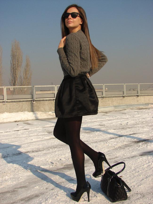 maya madanska from i heart maya fashion blog wearing ralph lauren grey cable knit sweater jumper, topshop satin black skirt, asos black halo heels court shoes, tiffany&co heart necklace pendant blogger