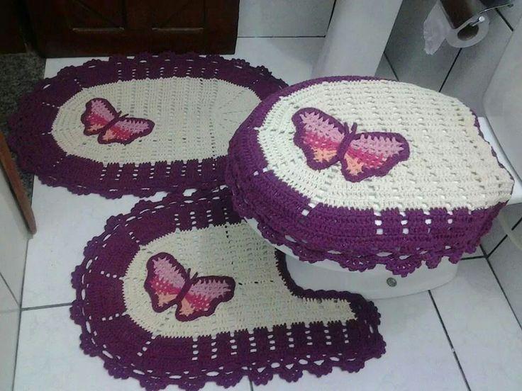 Accesorios De Baño A Crochet:Muestra: cuadrado de 5 x 5 cm (ganchillo agujas de 4,0 mm) = 9 puntos