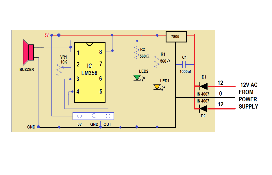 gas leakage detector with mq gas sensor., wiring diagram