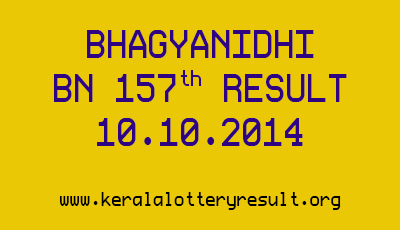BHAGYANIDHI Lottery BN 157th Draw Result on 10.10.2014