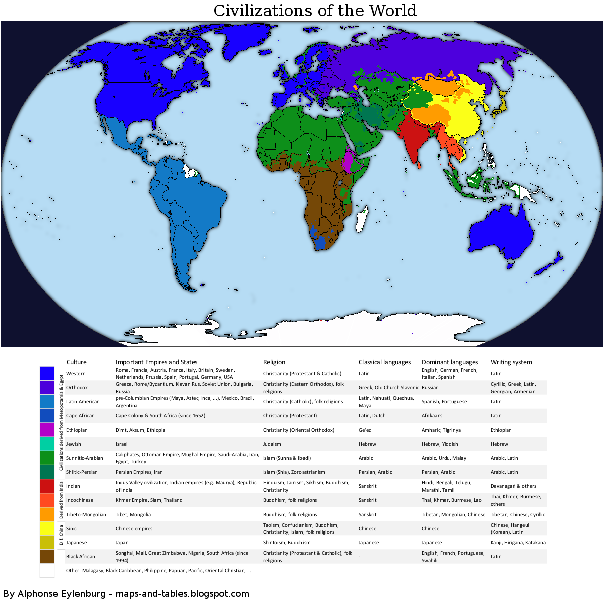Maps And Tables World Map Of Civilizations - World map west
