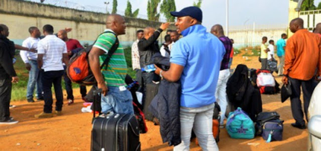 500 Nigerians Deported From The UK Arrive Lagos [Photos]