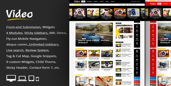 Download Free Video News v1.2 WordPress Magazine Newspaper Theme