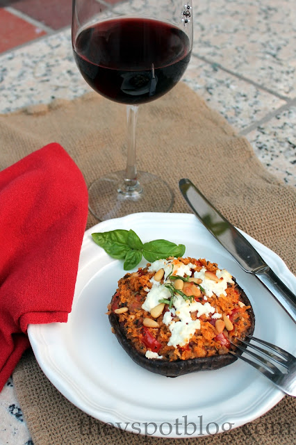 stuffed portobello mushroom and red wine