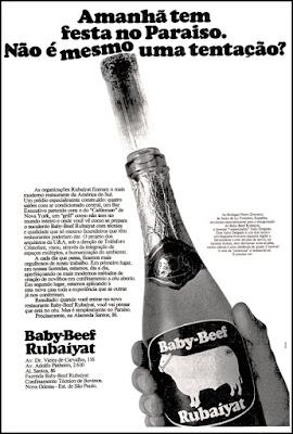 Baby-Beef - Rubaiyat, 1974,  os anos 70; propaganda na década de 70; Brazil in the 70s, história anos 70; Oswaldo Hernandez;