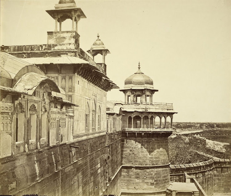 View of Palace and Outside Wall of the Agra Fort - c1860's