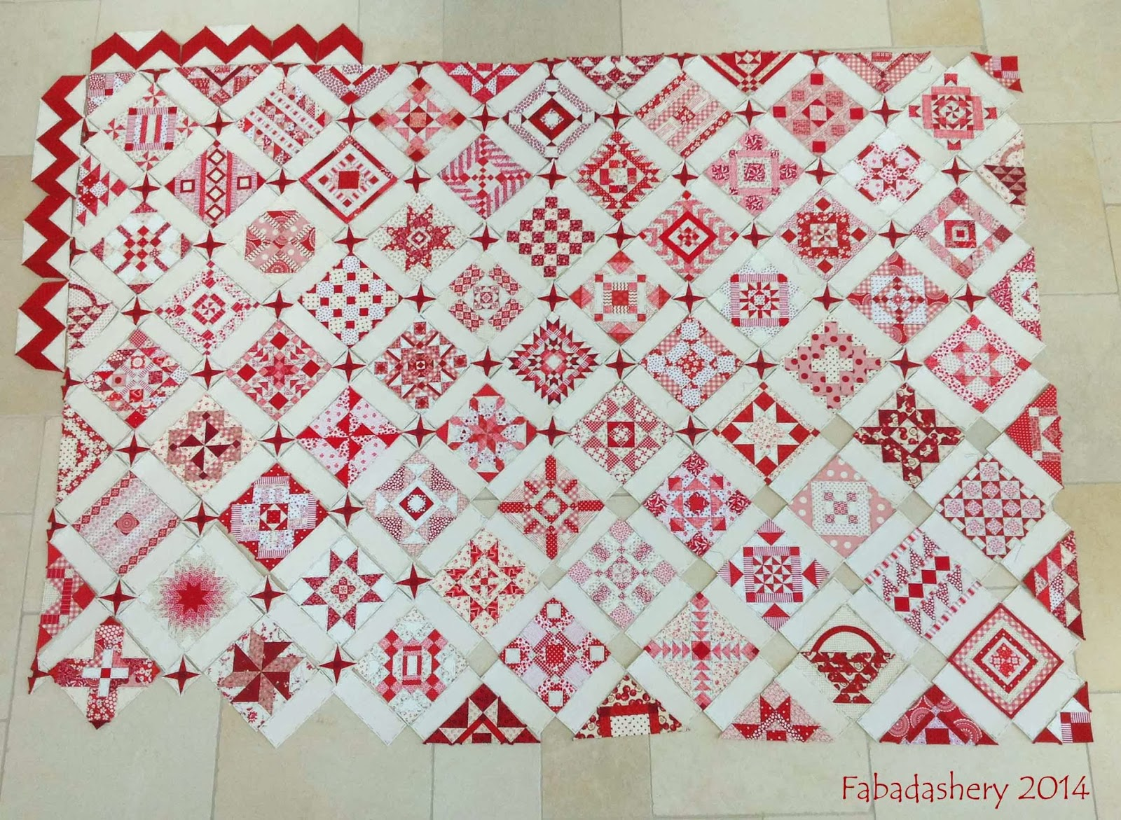 Red and white Nearly Insane Quilt