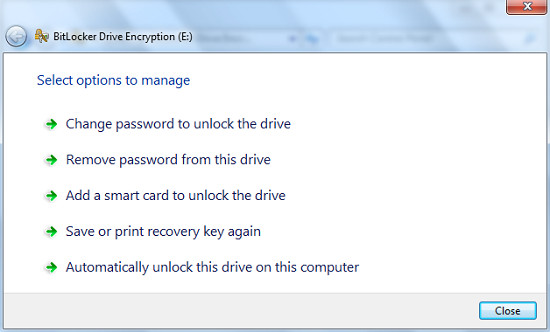 cara menggunakan opsi membuka dalam Encryption BitLocker Drive.