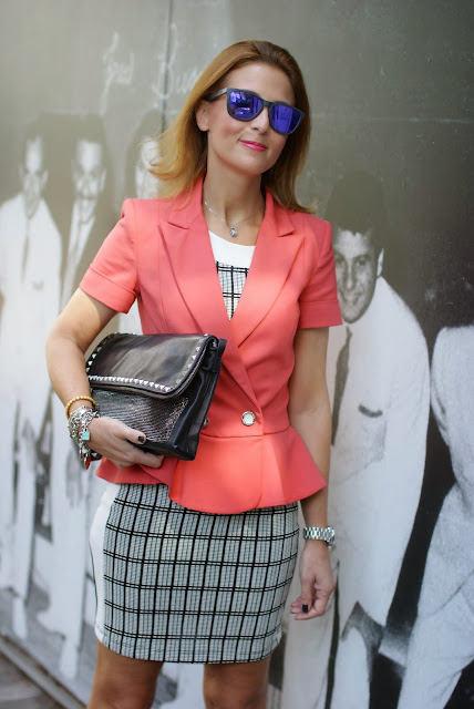 Apricot peplum blazer, Oakley sunglasses, Patrizia Pepe, Zara check dress, Fashion and Cookies, fashion blogger