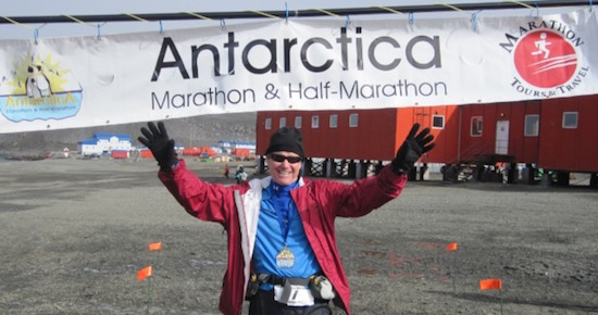 Mark Dangerfield at the Antarctica Marathon