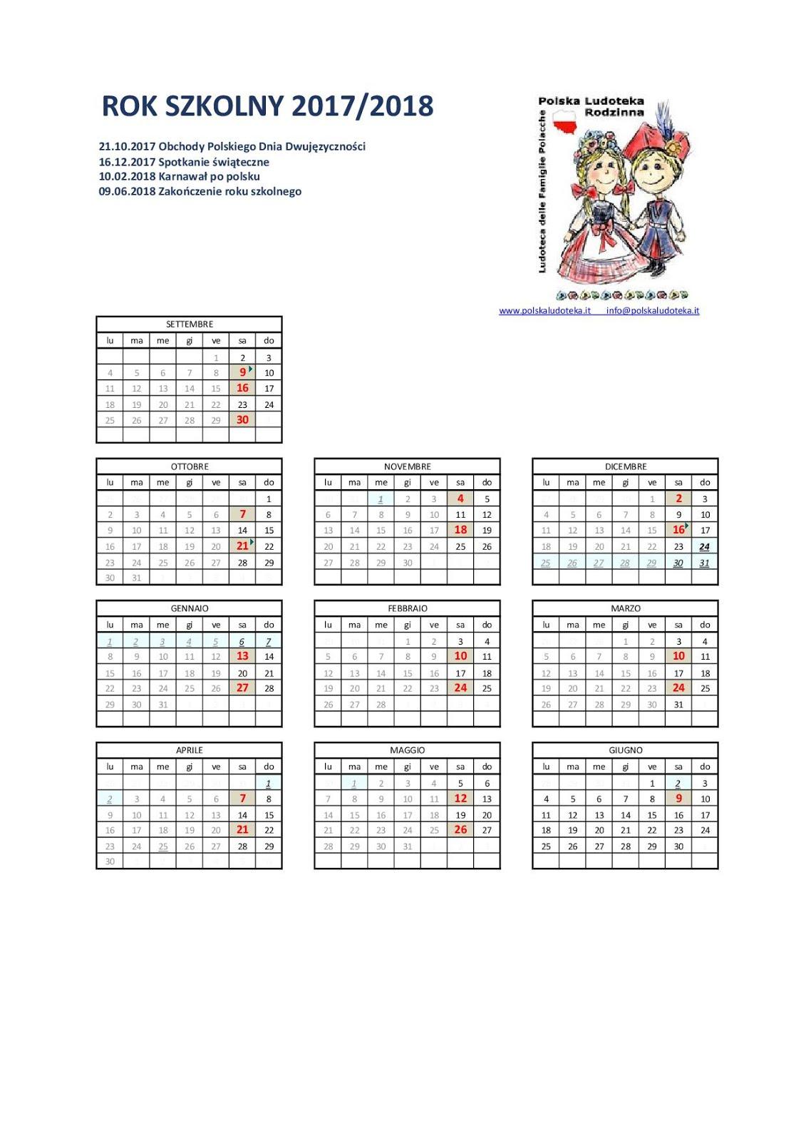 Kalendarz zajęć 2017/2018