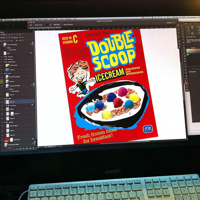 Double Scoop (ice cream cereal) by Sunnington Morn Created by Curio & Co. - www.curioandco.com Curio and Co. - work in progress design and illustration by Cesare Asaro - Retro Ad
