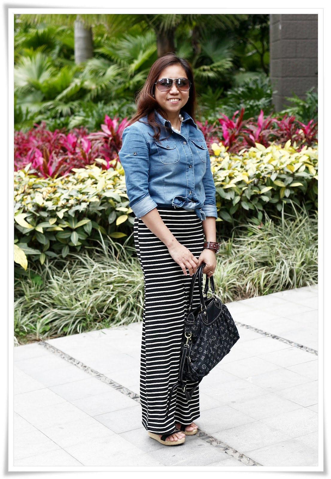iluv2shop what i wore chambray shirt maxi dress as skirt