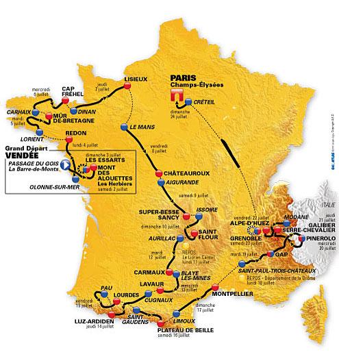 Tour 98º Tour de Francia 2011 del 02. al 24. de Juli con Contador, Schleck, Evans, Wiggins, Basso y Sánchez