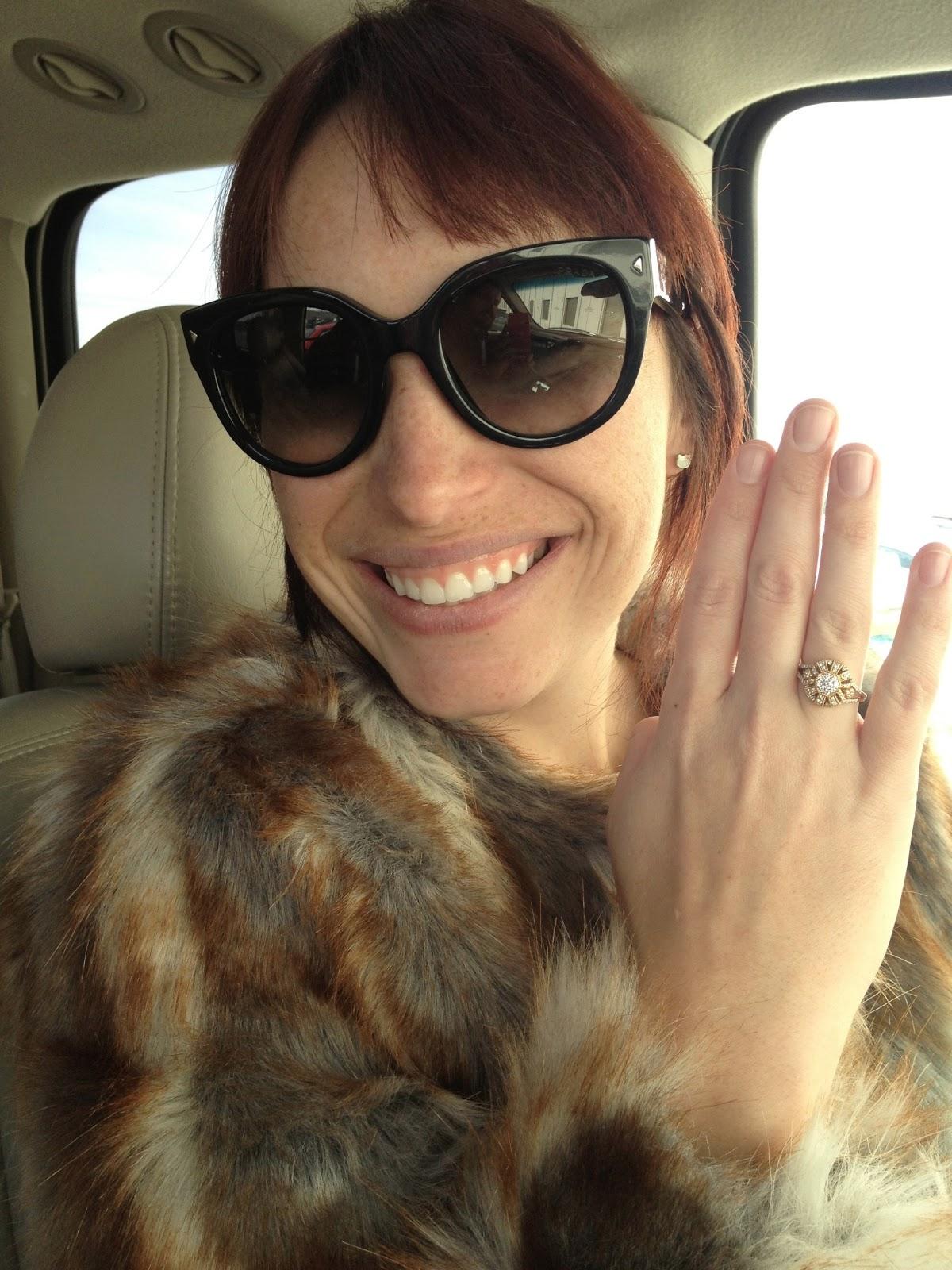 nordstrom, prada, prada cat eye, prada cat eye sunglasses, prada sunglasses, sunnies, fur coat, faux fur, diamond ring, diamonds, diamond, gold ring, engagement ring,  freckles, love story, date, romantic date,