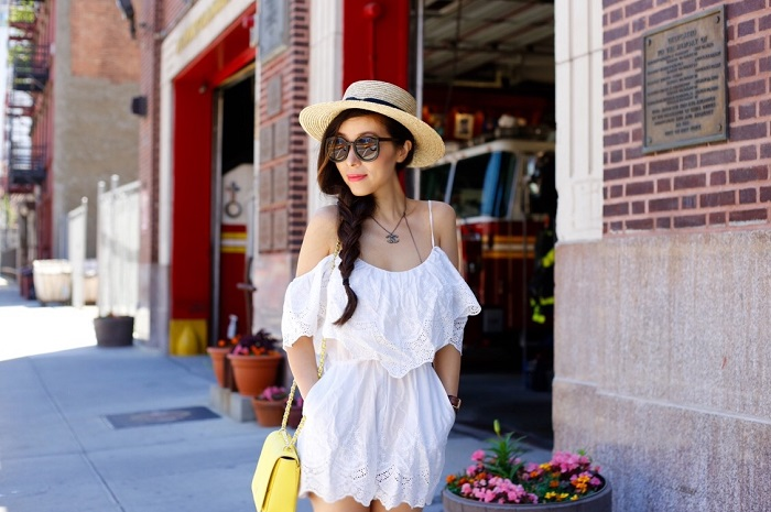 renamed tiered romper, white lace romper, summer essentials, lack of color straw hat, janessa leone straw hat, schutz lace up sandals, tory burch bag, daniel wellington watches, karen walker super duper sunglasses, summer outfit, fashion blog, new york fashion blog, shallwesasa