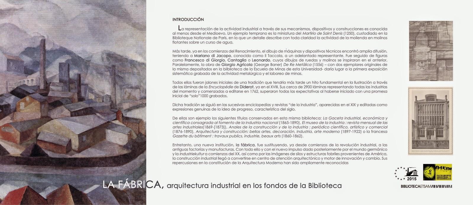 Patrimonio industrial arquitect nico exposici n la - Ets arquitectura madrid ...