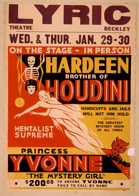 circus, classic posters, free download, graphic design, magic, movies, retro prints, theater, vintage, vintage posters, Hardeen Brother of Houdini, Mentalist Supreme, Handcuffs and Jails Will Not Hold Him - Vintage Magic Poster