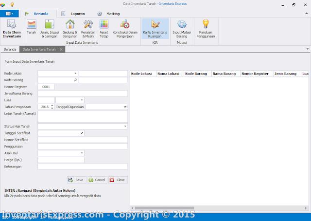 Input Data Tanah (KIB A) - Software Inentaris Express