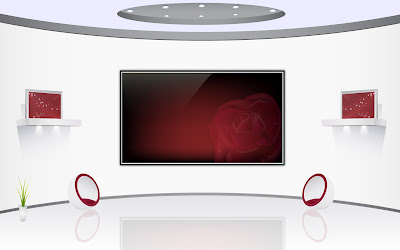 Furniture And Interior Arts Design - Red White Home Theater