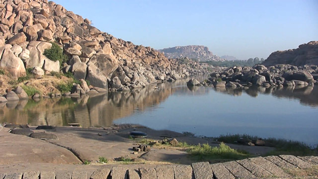River Tungabhadra and Boulders on the side