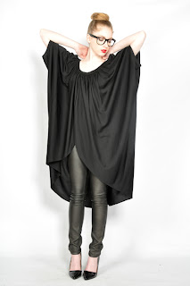 Vintage 1980's black slinky draped kimono style tunic.