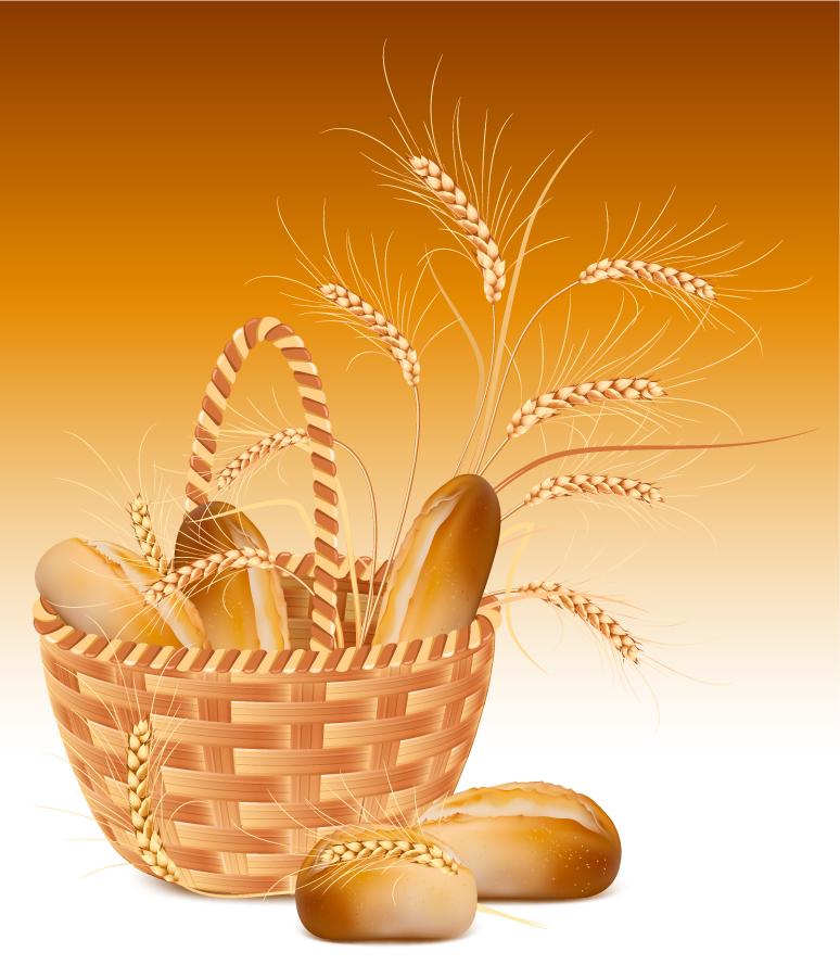 パンと麦のクリップアート bread image bamboo baskets vector イラスト素材