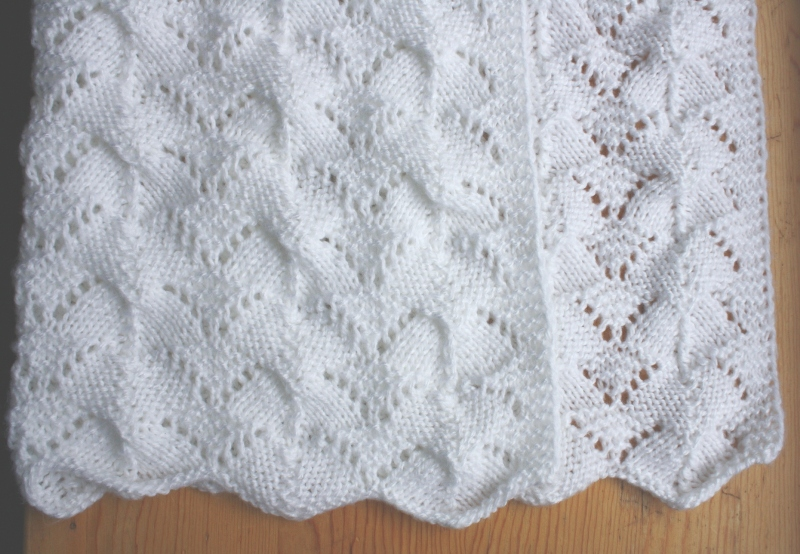 Knitting Reversible Lace Stitches : All Knitted Lace: Reversible Lace Baby Blanket Pattern release