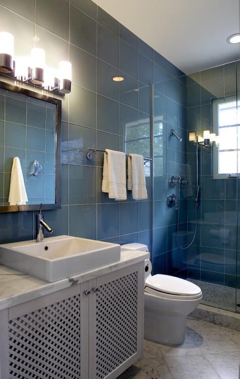 Lovely Glass Tiles In The Bathroom