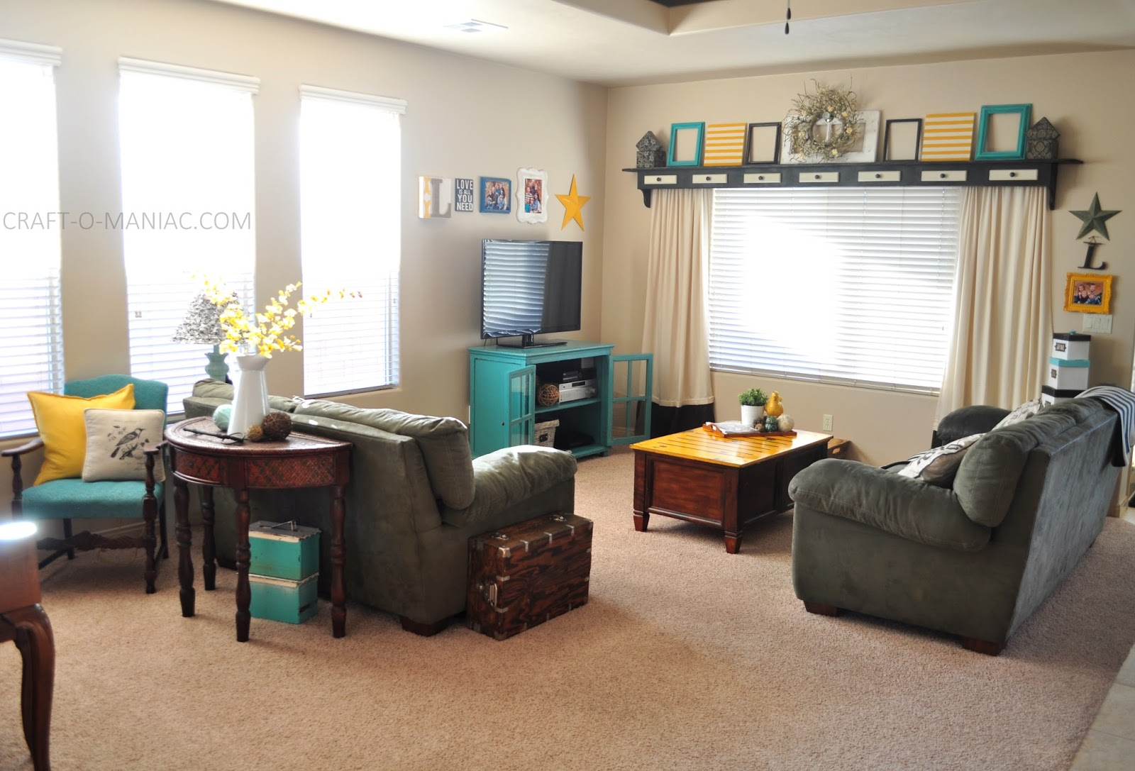Turquoise Home Decor Ideas Part - 30: Home Decor~ My Turquoise And Yellow Family Room