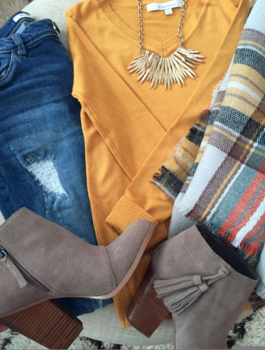 Fall fashion - distressed jeans, solid sweater, statement necklace, plaid scarf, booties